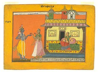 Beetlewing - Radha and Krishna in Rasamanjari by Bhanudatta, Basohli, ca. 1670. Opaque watercolour and gold on paper, with applied beetle wing fragments.