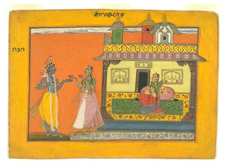 Radha and Krishna in Rasamanjari by Bhanudatta, Basohli, c1670
