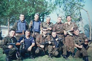 2001 insurgency in the Republic of Macedonia - Reservist units of the Macedonian police in Raduša (on the border with Kosovo), a month before the battle for Raduša.