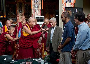 Richard Davidson - Rajesh Kasturirangan with the 14th Dalai Lama, Geshe Thupten Jinpa and Richard Davidson at Mind and Life Institute XXVI conference.