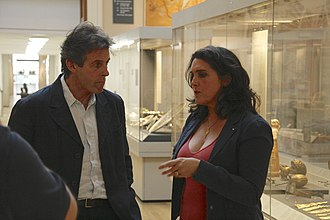 Bettany Hughes - Bettany Hughes talking to Ralph Jackson (Curator of Romano-British Collections at the British Museum) during filming of Britain's Secret Treasures at the British Museum