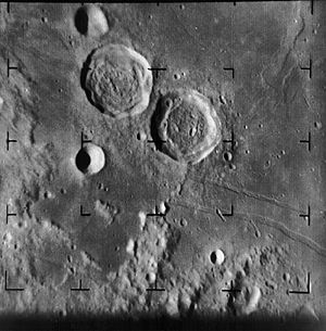 Ranger 8 - Image of the moon taken by Ranger 8, showing the craters Ritter and Sabine.