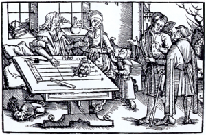 Jeton - Counting table (woodcut probably from Strasbourg). The lines and the spaces between the lines function like the wires on an abacus. The place value is marked at the end.