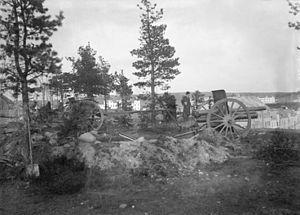 Battle of Lahti - Red artillery in the Radiomäki Hill