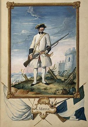 Troupes de marine - Soldier of the Compagnies Franches de la Marine during the Seven Years' War. Musée de l'Armée (Armed Forces Museum).