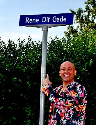 René Dif - René Dif in July 2013, in front of a street sign that bears his name.