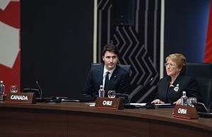 Canada–Chile relations - Canadian Prime Minister Justin Trudeau and Chilean President Michelle Bachelet attending the APEC summit in Peru, 2016.