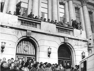 Romanian Revolution - The balcony where Ceaușescu delivered his last speech, taken over by the crowd during the Romanian Revolution of 1989