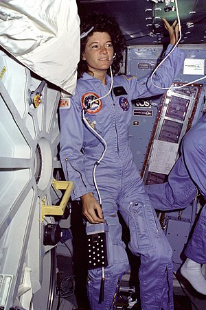 Sally Ride - Ride on ''Challenger'''s mid-deck during STS-7 in 1983