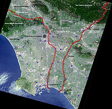 Map of the Los Angeles and San Gabriel rivers. The Los Angeles River is the one on the left.