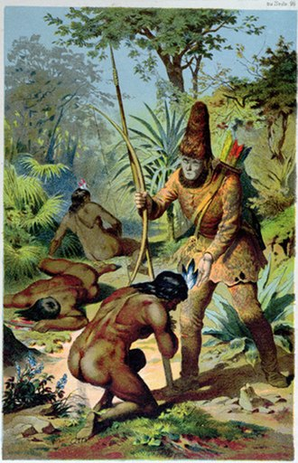 Castaway -  Robinson Crusoe (1719) by Daniel Defoe. Illustration of Crusoe standing over Man Friday after freeing him from the cannibals.