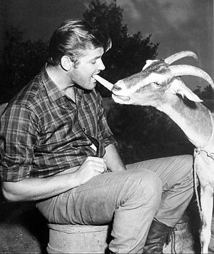 "The Alaskans - Roger Moore with ""co-star"", 1959."
