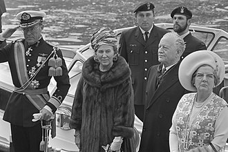 Roland Michener - Left to right at front: Prince Bernhard of Lippe-Biesterfeld, Queen Juliana, Roland Michener, and Norah Michener in Amsterdam, April 14, 1971