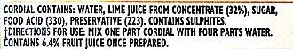 Rose's lime juice - New Zealand ingredient list (2013)