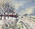 Route Enneigée avec maison, environs d'Éragny by Camille Pissarro.jpg