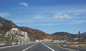 Rubik, Albania - Rubik and its church seen from the Albania-Kosovo Highway A1