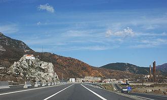 Durrës-Kukës Highway - A1 becomes a single carriageway between Milot and Rreshen