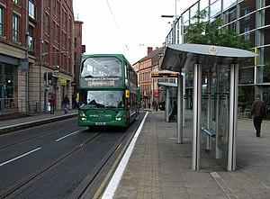 Lace Market tram stop - Image: Ruddington bus at Fletcher Gate geograph.org.uk 2478047
