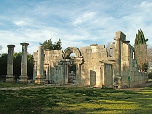 Ruins of the ancient synagogue in Kibbutz Bar'...