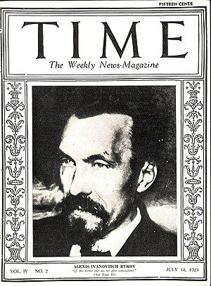 Alexei Rykov - Rykov on the cover of Time in 1924