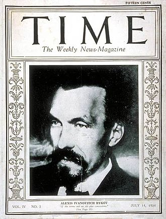 Alexei Rykov - Rykov on the cover of Time in 1924