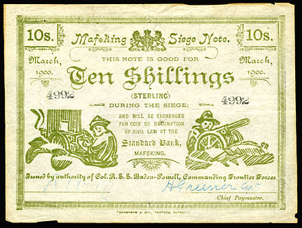 Siege of Mafeking, 10 Shillings (1900), Boer War currency issued by authority of Colonel Robert Baden-Powell. SA-S654b-Boer War-Mafeking-10 Shillings (1900).jpg