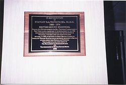 Photo of Stanley S. A. Watkins black plaque