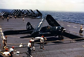 USS Philippine Sea (CV-47) - Curtiss SB2C-5 Helldivers aboard Philippine Sea during her cruise in the Mediterranean in 1948.
