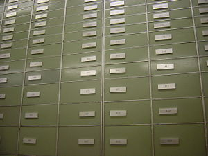 Safe deposit box - Safe deposit boxes inside a Swiss bank.