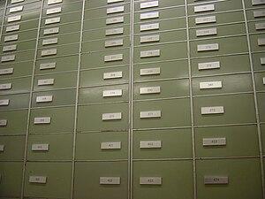 Safe deposit box - Safe deposit boxes inside a Swiss bank.