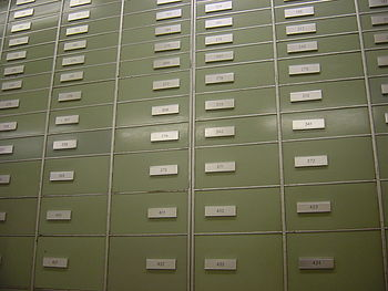 Safe deposit boxes inside the vaults of a Swis...