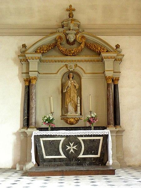 Église Saint-Pierre de Saint-Pierre-des-Landes (53). Autel de sainte-Barbe.