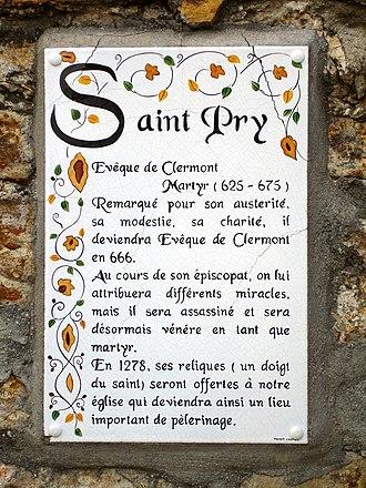January 25 (Eastern Orthodox liturgics) - Image: Saint Prix Plaque saint Pry