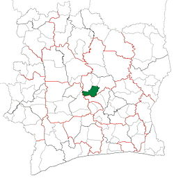 Location in Ivory Coast. Sakassou Department has retained the same boundaries since its creation in 1988.