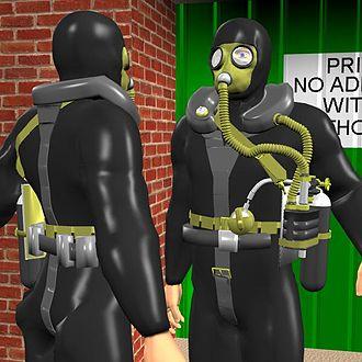 Siebe Gorman Salvus - CGI image: 2 views of a diver wearing a Siebe Gorman Salvus rebreather