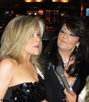 Samantha Fox - Fox (left) and her partner Myra Stratton at the 2010 Fate Awards in Belfast, Northern Ireland