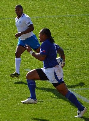 Alesana Tuilagi - Tuilagi making a break for Samoa vs Namibia in the 2011 Rugby World Cup