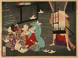 A Tale of Sano Jirozaemon, Tsukioka Yoshitoshi, 1886. People rumored that Jirozaemon murdered his lover with a cursed sword. The kabuki drama Kago-tsurube Sato-no-Eizame (1888) claimed that his sword was forged by Muramasa. Sano Jirozaemon Murdering a Courtesan LACMA M.84.31.539a-b.jpg