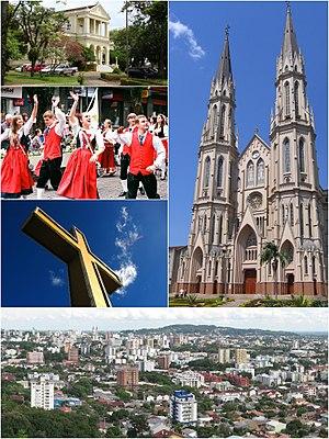 À direita, a Catedral São João Batista. À esquerda, a prefeitura municipal, cidadãos desfilando em trajes germânicos na Oktoberfest, e a cruz do morro. Abaixo, panorama do centro da cidade.