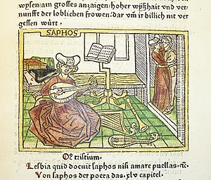Sappho - In the medieval period, Sappho had a reputation as an educated woman and talented poet. In this woodcut, illustrating an early incunable of Boccaccio's De mulieribus claris, she is portrayed surrounded by books and musical instruments.