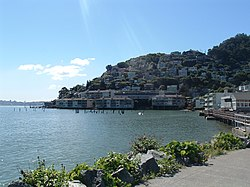 Sausalito combines hillside with shoreline, as seen in this view from Bridgeway, the city's central street.