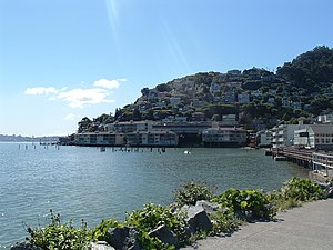Sausalito, California - Sausalito combines hillside with shoreline, as seen in this view from Bridgeway, the city's central street.