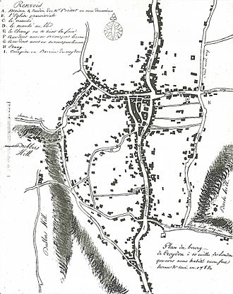 The earliest detailed map of Croydon, drawn by the 18-year-old Jean-Baptiste Say in 1785. The early settlement of Old Town, including the parish church (marked B) lies to the west; while the triangular medieval marketplace, probably associated with Archbishop Kilwardby's market charter of 1276, is clearly visible further east, although by this date it has been infilled with buildings. Say map.jpg