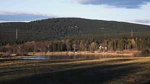 Schalke (Harz) - View from Zellerfeld to the Schalke. In the foreground the Stadtweg Pond