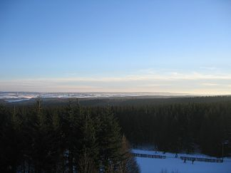 View from the White Stone in the Zitterwald south to the Schneifel with the towers of the Prüm Air Station and the Schnee-Eifel transmitter