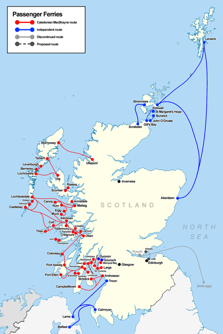Map of ferry services in Scotland, CalMac services shown in red