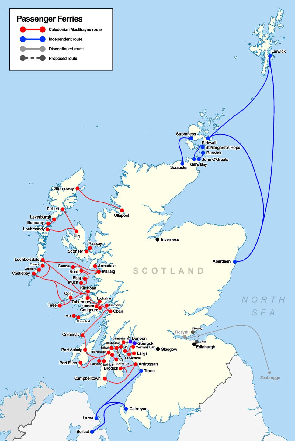 Scotland ferries map