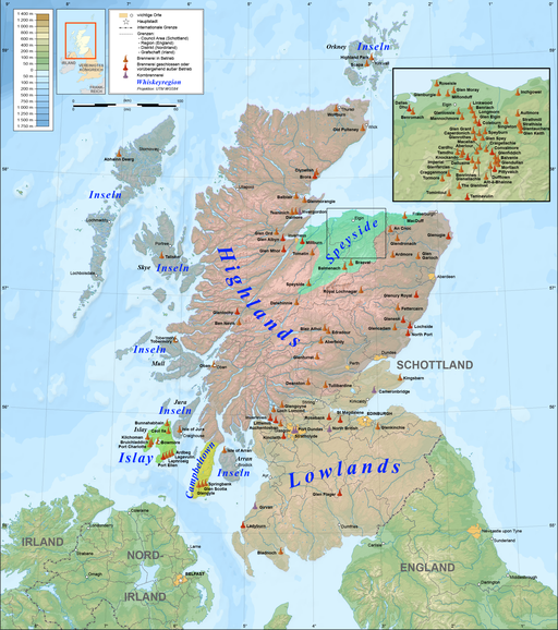 Scotland map of whisky distilleries-de