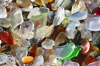 Glass Beach (Fort Bragg, California) - Image: Sea glass at Glass Beach in California (closeup) 2016