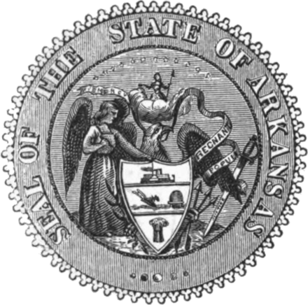 Seal of Arkansas from 1864 to 1907. Seal of Arkansas (1864-1907).png